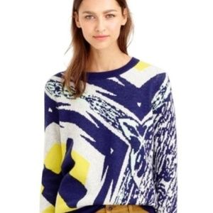J.Crew  Blue Double-Knit Abstract Sweater  XS